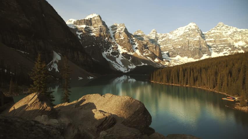 4K Overlook of Turquoise Moraine lake, Revealinging shot - Banff, Alberta - Morning, wide angle | Shutterstock HD Video #1015201099