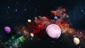 Space travelling loop video. 3d rendering. Planets over a glowing red nebula. Eternal Galaxy.