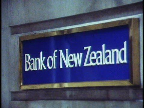 LONDON, ENGLAND, 1988, The City, bank sign, close up, Bank of New Zealand
