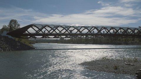 4K People rollerskating on Peace bridge
