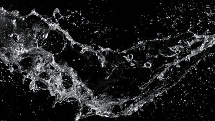 Super slow motion of water splash on black background. Filmed on high speed cinema camera, 1000 fps.