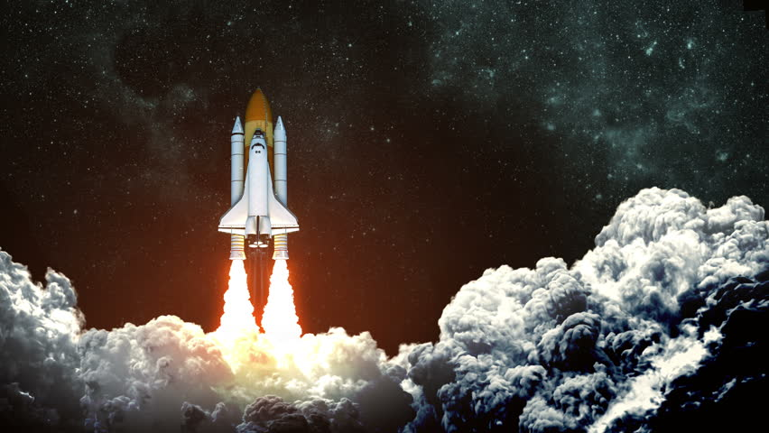 4K. Space Shuttle Launch On Background Of Night Sky. Slow Motion. 3D Animation.  Ultra High Definition. 3840x2160. | Shutterstock HD Video #1015247392