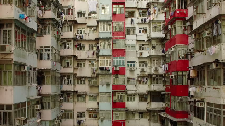 Hong Kong apartments by drone. | Shutterstock HD Video #1015281073