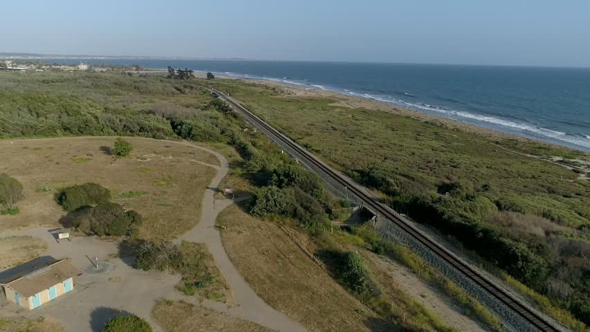 Ventura, CA / United States - 07 09 2018: Amtrak Surf Liner making its way down the California coast