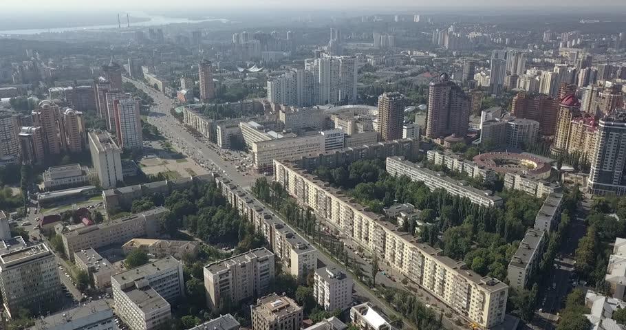 Aerial city view modern city construction and development Kiev   Shutterstock HD Video #1015297264
