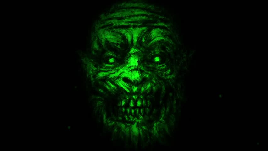 Scary zombie face on black background. Animation in genre of horror. Green monster character face. | Shutterstock HD Video #1015303504