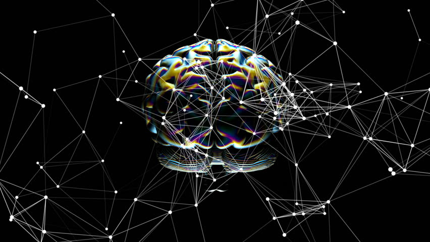 Network operation. Connection of objects in consciousness. Rotating brain. Holographic foil. Seamless loop. | Shutterstock HD Video #1015304635