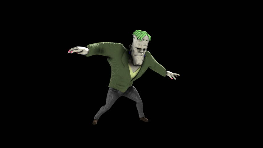 Frankenstein monster dancing isolated on a black background. Funny halloween seamless animation. | Shutterstock HD Video #1015307011