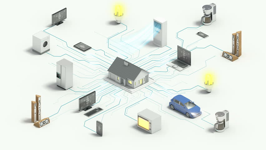 Smart home connecting home appliances automation technology,  Internet of things, 4k animation.