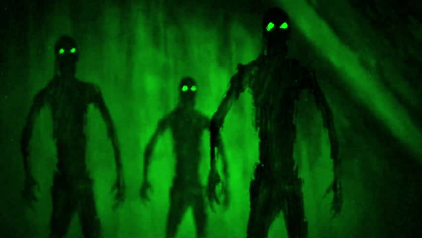 Attack zombies inside tomb. Animation in genre of horror. Green background color. Royalty-Free Stock Footage #1015325980