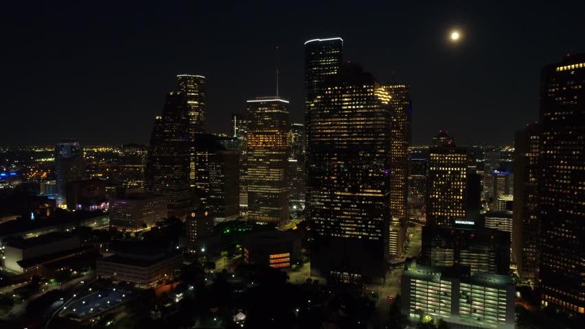 Night aerial footage Houston Texas