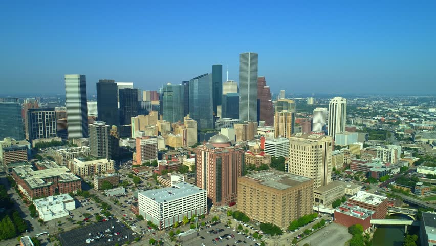 Amazing epic pull out shot Houston Texas aerial drone footage