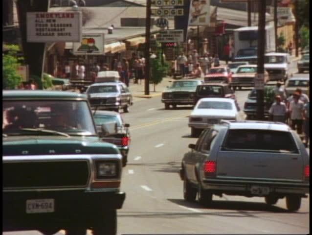 GATLINBURG, TENNESSEE, 1978, crushed shot of traffic, cars, 70s vintage cars