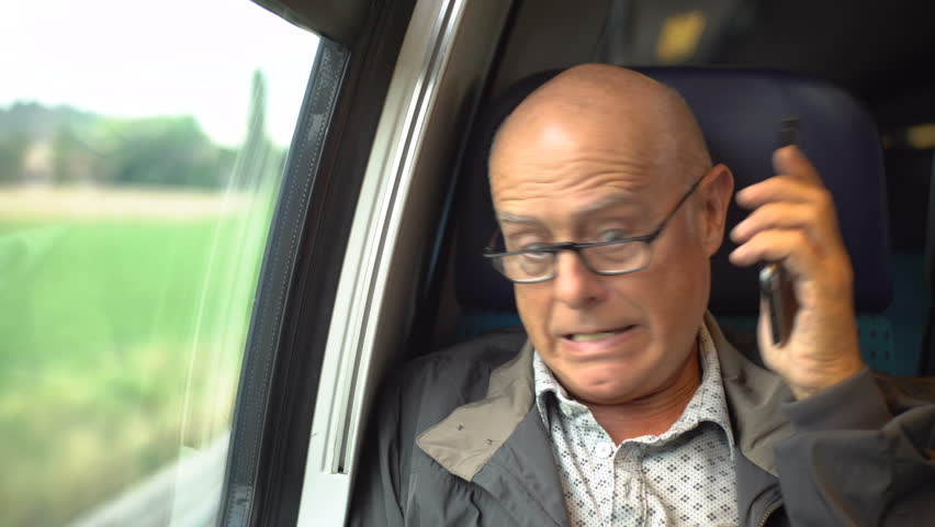 Angry Old Man Talking On Mobile Phone Inside Train Model Released
