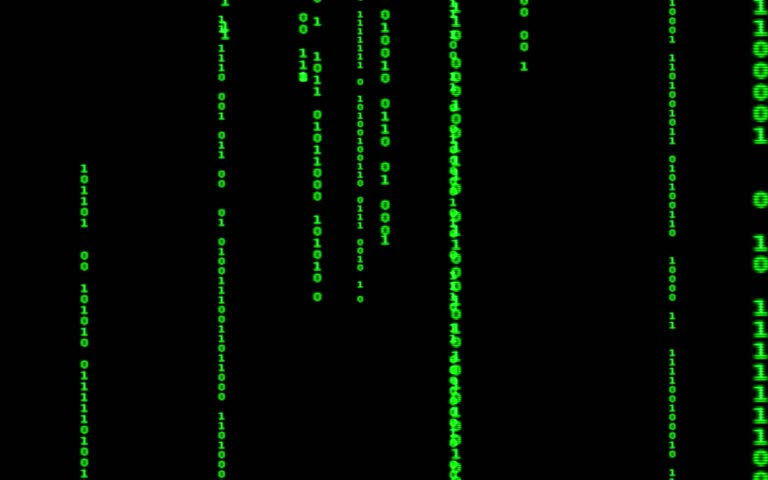 Digital binary data, streaming code background. Matrix background. Programming / Coding / Hacker concept. Cyberspace with green digital falling lines, abstract background, binary chain. Crypto space.   Shutterstock HD Video #1015388395