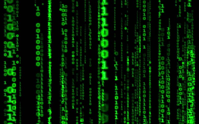 Digital binary data, streaming code background. Matrix background. Programming / Coding / Hacker concept. Cyberspace with green digital falling lines, abstract background, binary chain. Crypto space.
