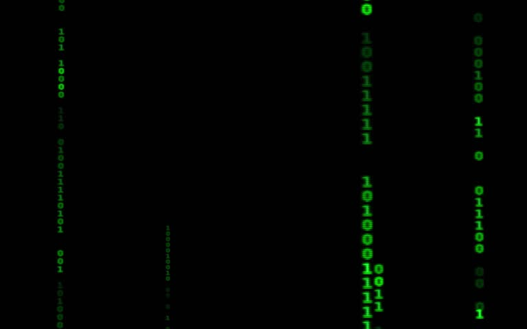 Digital binary data, streaming code background. Matrix background. Programming / Coding / Hacker concept. Cyberspace with green digital falling lines, abstract background, binary chain. Crypto space.   Shutterstock HD Video #1015388407