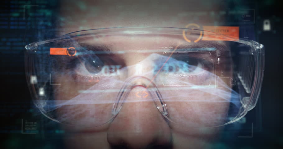 Portrait of a teenager with  glasses from real professional gamer and on the graphic background in holography. Concept of: online games, future, technology | Shutterstock HD Video #1015405183
