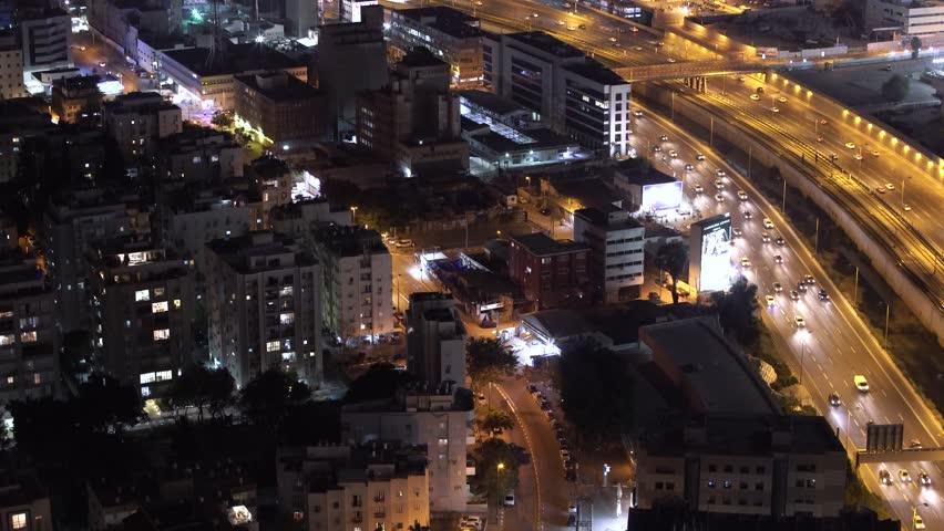 TEL AVIV, ISRAEL - APRIL, 2018: Tel Aviv Skyline At Twilight,  Aerial View,  Israel #1015411942