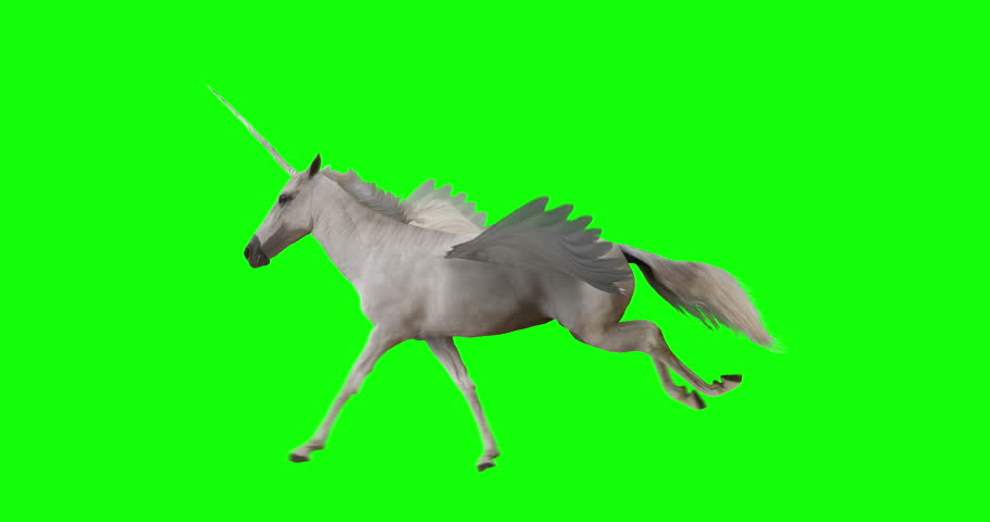 Pegasus and winged Unicorn running on a transparent background. The first running horse with horn, and the second without horn. Isolated and cyclic animation. Seamless loop. Green Screen Royalty-Free Stock Footage #1015420138