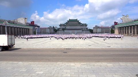 August, 2018 - Pyongyang, North Korea - Rehearsal of the torchlight procession in the square. Kim Il Sung in Pyongyang