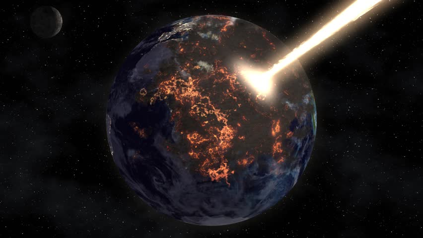 The flow of solar energy burns the planet earth in space. Apocalypse Royalty-Free Stock Footage #1015429348