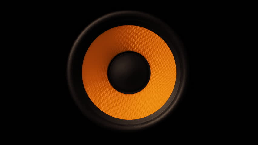 Loud Speaker In Action. Close Up View of sound waves Orange membrane. #1015440910