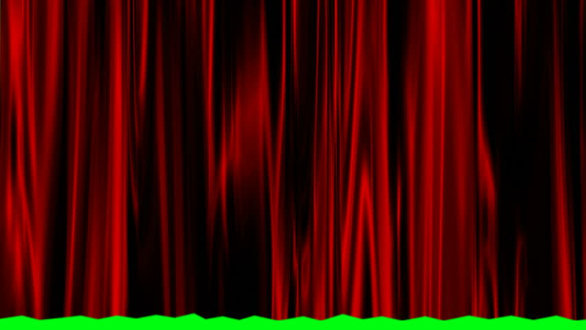 Red satin curtain rising to reveal a green screen. | Shutterstock HD Video #1015460278