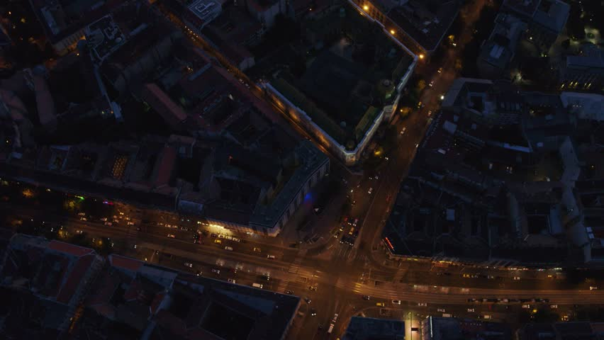 Night view of residential area in downtown Budapest, Hungary during night - drone video   Shutterstock HD Video #1015466755