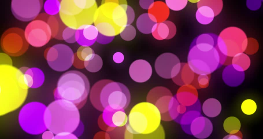 Cyclic animation of defocused flow points of light on a black background, violet purple blue white bokeh background