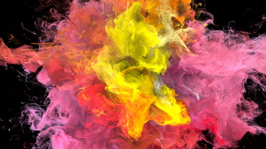 Color Burst - colorful yellow orange pink red smoke explosion fluid gas ink particles slow motion alpha matte isolated on black #1015471678