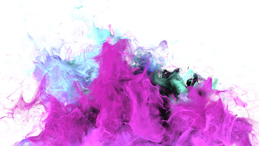 Color Burst - colorful magenta cyan smoke explosion from below fluid gas ink particles slow motion alpha matte isolated on white #1015471699