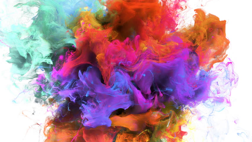Color Burst - colorful orange cyan magenta pink yellow smoke explosion fluid gas ink particles slow motion alpha matte isolated on white #1015471741