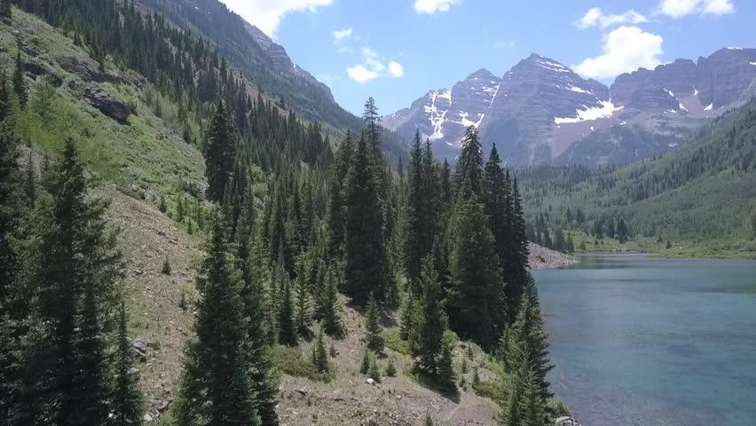 Aerial Footage of Maroon Bells in Colorado