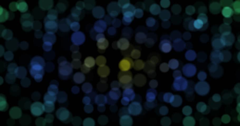Dark green, yellow, blue circle bokeh lights. computer generated loopable abstract motion background. 4k pogressive, loop