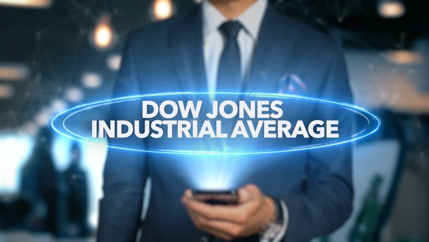 Businessman With Mobile Phone Opens Hologram HUD Interface and Touches Word - DOW JONES INDUSTRIAL AVERAGE | Shutterstock HD Video #1015506772