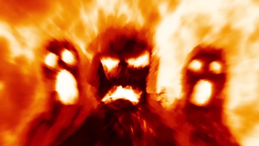 Scary burning monsters shadows. Cruel ghosts attack. Digital 2D Halloween animation. Horror fantasy genre. Evil devil head. Suspense movie. Spooky animated Vj loop video clip. Orange color background.