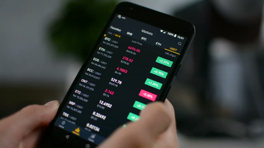 Investor checking Bitcoin, Ethereum and other altcoin cryptocurrency price index on mobile phone screen, cryptocurrency future price action prediction concept Royalty-Free Stock Footage #1015567468