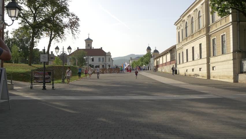 Alba Iulia, Romania - April, 2016: Alley in Alba Iulia fortress, Romania | Shutterstock HD Video #1015597069