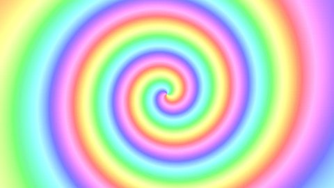 Colorful magical multicolor rainbow swirl of soft colors rotating in a spinning spiral in a seamless repeating looping CGI high definition multicolor motion video clip