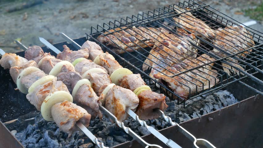 Barbecue and grill set with fish for home party on nature outdoor. Fresh beef steak or fillet of pork on the grill | Shutterstock HD Video #1015604398