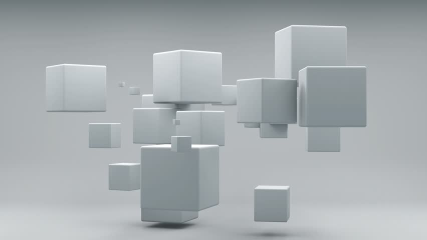 3D animation of flying cubes #1015640974