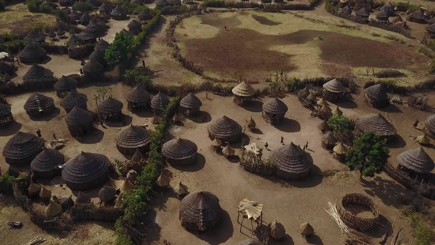Aerial shot of traditional African rural tribe village, East Africa