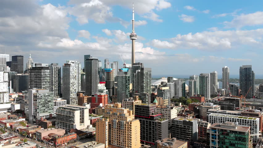 Toronto, Ontario, Canada, aerial view of Toronto cityscape showing Downtown buildings and CN Tower during summer, daytime.