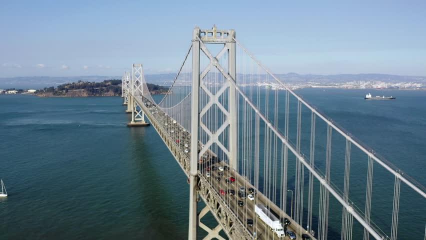 San Francisco Bay Bridge Aerial Circling View During Rush Hour | Shutterstock HD Video #1015670887