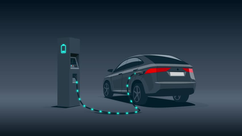 Electric car charging at charger station during night low demand off-peak electricity. Objects and shadows as separate alpha channel on white chroma key background ease to replace. Cartoon animation.