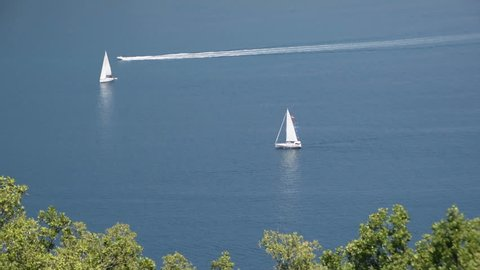 A sailboats on the horizon - Bay of Kotor Adriatic Sea Montenegrin coast