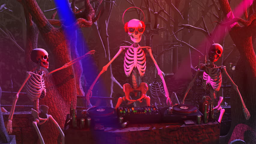 Seamless animation of a DJ skeleton and skeletons dancers in a cemetery at night. Funny halloween background. #1015708750