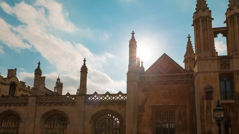 CAMBRIDGE, circa 2018 - Panning shot of Kings College, a constituent college of the University of Cambridge in England founded in 1441.
