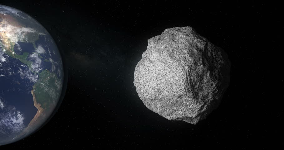 The 101955 Bennu, a carbonaceous asteroid in the Solar System,  a potentially hazardous object impacting the Earth in the future.  As illustration or background. 3D rendering. Royalty-Free Stock Footage #1015732045
